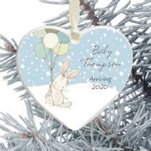 New Baby Arrival Keepsake Heart Christmas Tree Decoration - Cute Bunny and Balloons Design